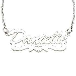 Sterling Silver Open Heart Name Necklace