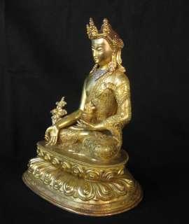 Old Tibetan 24k Golden Bronze Medicine Buddha Statue
