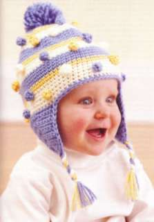Baby Hats Ear Flaps Crochet Patterns Booties Afghan NEW Soft Dreams
