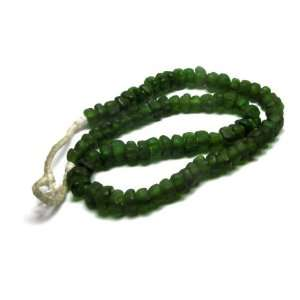 African Forest Green Frosted Glass Bead Necklace Jewelry