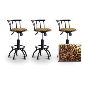 Animal Print Seat Black Adjustable Specialty / Custom Barstools Set