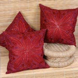 Asian Embroidered Throw Pillow Cushion Covers (Set of five