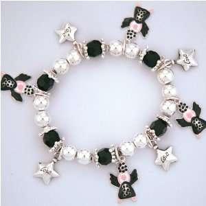 Black Awareness Ribbon Angel Charm Bracelet Arts, Crafts