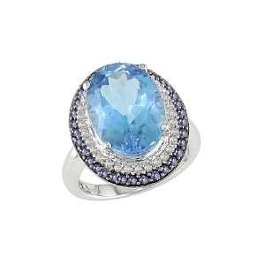 14K White Gold, Diamond and Blue Topaz Ring, (.2 cttw, HI Color, I1 I2