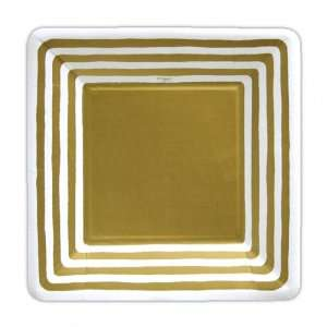 Gold Stripe Border 7 inch Square Paper Plate Kitchen