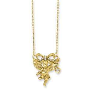 Gold Tone Angel With Crystal Bow 16in W/Ext Necklace Jewelry