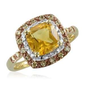 Natural Citrine and Brown Diamond Anniversary Ring 10k Yellow Gold (H