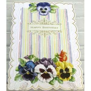 Carol Wilson Happy Birthday Card for Her Pansies and Stripes