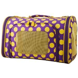 Yellow Polka Dot Pet Dog Cat Carrier 16   Large Dots