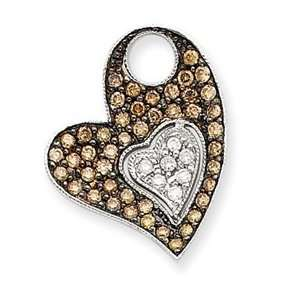 Gold Champagne and White Diamond Heart Pendant   JewelryWeb Jewelry