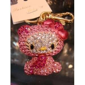 Hello Kitty Keychain Purse Charm Austrian Crystals