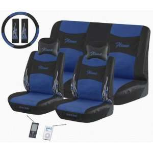 Flame 11 Pc Ipocket Seat Cover Set Blue Car Truck Bucket Seat Cover