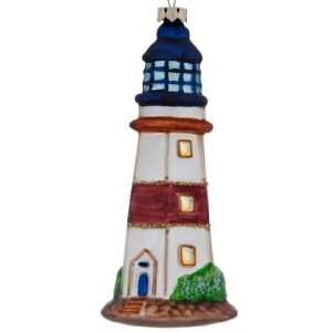 Blue Tower White Striped Christmas Ornament