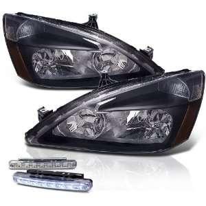 03 07 Honda Accord Chrome Head Lights+led Bumper Fog Lamp Pair New Set