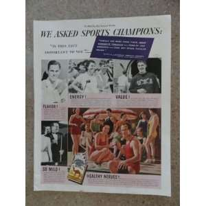 Camel Cigarettes, Vintage 30s full page print ad (sports