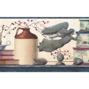 Blue and Cream Country Jars Wallpaper Border:  Kitchen