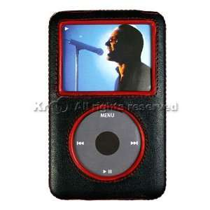 Black with Red Leather Shell Case Cover for Brand Apple iPod Classic