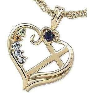 10K Gold Mothers Heart Cross Pendant   Personalized Jewelry Jewelry