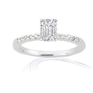0.60 Ct Emerald Cut Diamond Engagement Ring Pave SI1 GIA