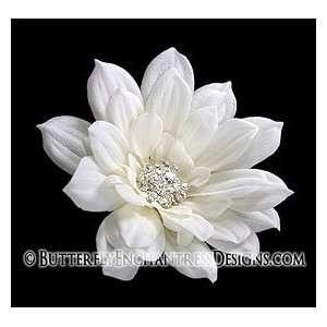 Crystal Rhinestone White Ivory Autumn Dahlia Flower Bridal Hair Comb