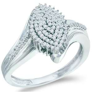 Cluster Pave Setting Round Cut Ladies Diamond Engagement Ring Band