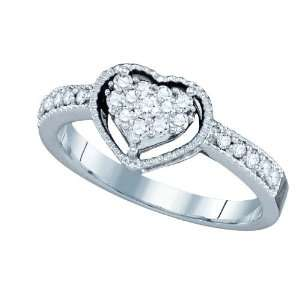 Gold Exquisite .32CT Diamond Heart Ring Featuring Double Heart Center