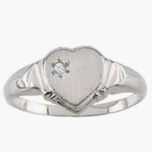 14k White Gold Heart Ring with Diamond Jewelry