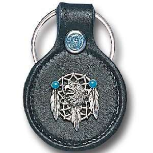 Leather & Pewter Key Ring   Eagle & Dream Catcher