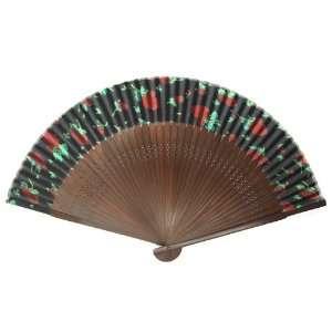 Dark Bamboo Wood Oriental Silk Folding Fan