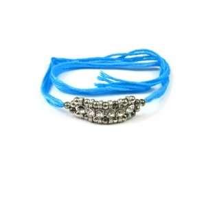 Rakhi Friendship Thread Bracelet with Crystal Bar and Gold