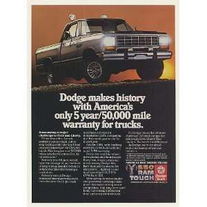 1985 Dodge Power Ram Pickup Truck 5 Year Warranty Print Ad