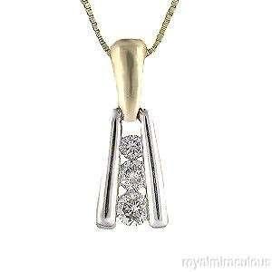 Stone Necklace, Past Present Future 14K Two Tone Gold W/Chain Jewelry