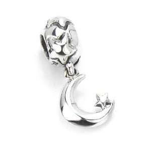 Moress Crescent Moon & Stars, European Charm Bracelet Dangle Bead