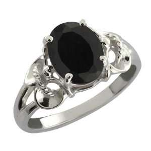 2.60 Ct Oval Black Onyx 18k White Gold Ring Jewelry