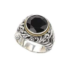 18K Yellow Gold and Sterling Silver Faceted Black Onyx Ring