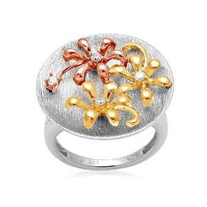 18k Gold Plated Sterling Silver Flower Diamond Ring (1/10