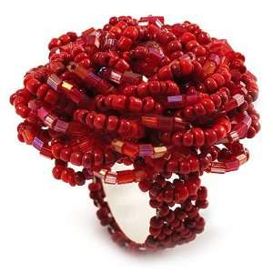 Red Glass Bead Flower Stretch Ring Jewelry