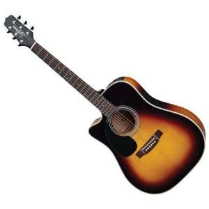LH LEFT HANDED ACOUSTIC ELECTRIC GUITAR +CASE Musical Instruments