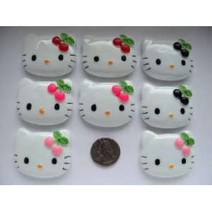 8 Xl Resin Cabochon Flat Back Kitty Cat Mix Cherry for