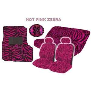 15 Pieces Hot Pink Zebra Low Back Seat Covers Bench Seat