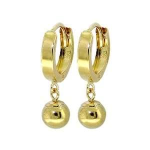 14k Gold Hoop Huggie Earrings with Genuine Dangling Ball