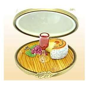 Cheese Tray and Wine Glass French Limoges Box  Kitchen