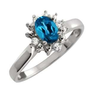 Genuine Oval London Blue Topaz Gemstone Argentium Silver Ring Jewelry