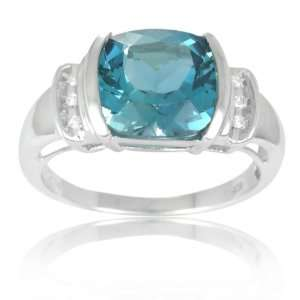 Silver Cushion Cut London Blue Topaz and Diamond Ring, Size 6: Jewelry