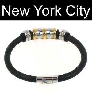Leather Bracelet Wristband Cuff Stainless Steel Magnetic Lock B0070BLK