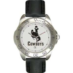 Wyoming Cowboys University of Mens Leather Sports Watch