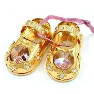 BABYSHOES, CRYSTAL ELEMENTS, PINK, GOLD PLATED, NEW