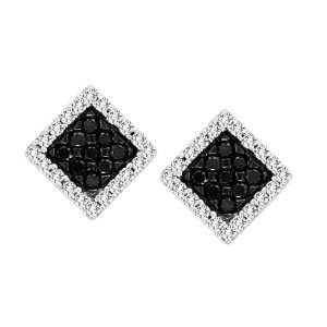Charming Gift Box Style Pave Set Black and White Round Diamond Earring