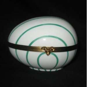 Limoges Porcelain Hand Painted Hinged Green Striped Goose Egg Box