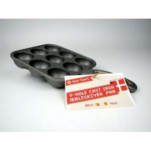 Elses 9 hole Cast Iron Aebleskiver Pan:  Kitchen & Dining